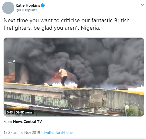 British Media Personality, Kate Hopkins Mocks Nigerians Over Fire Incident
