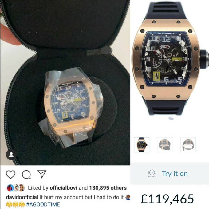 Davido Acquires Richard Mille Watch Worth £119,000 (N55m)