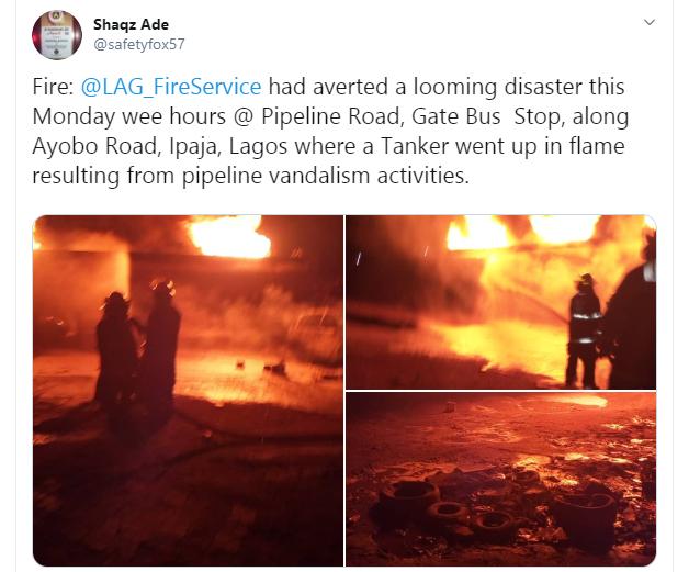 Fuel Tanker Explodes At Iyana Ipaja, Lagos (Photos)