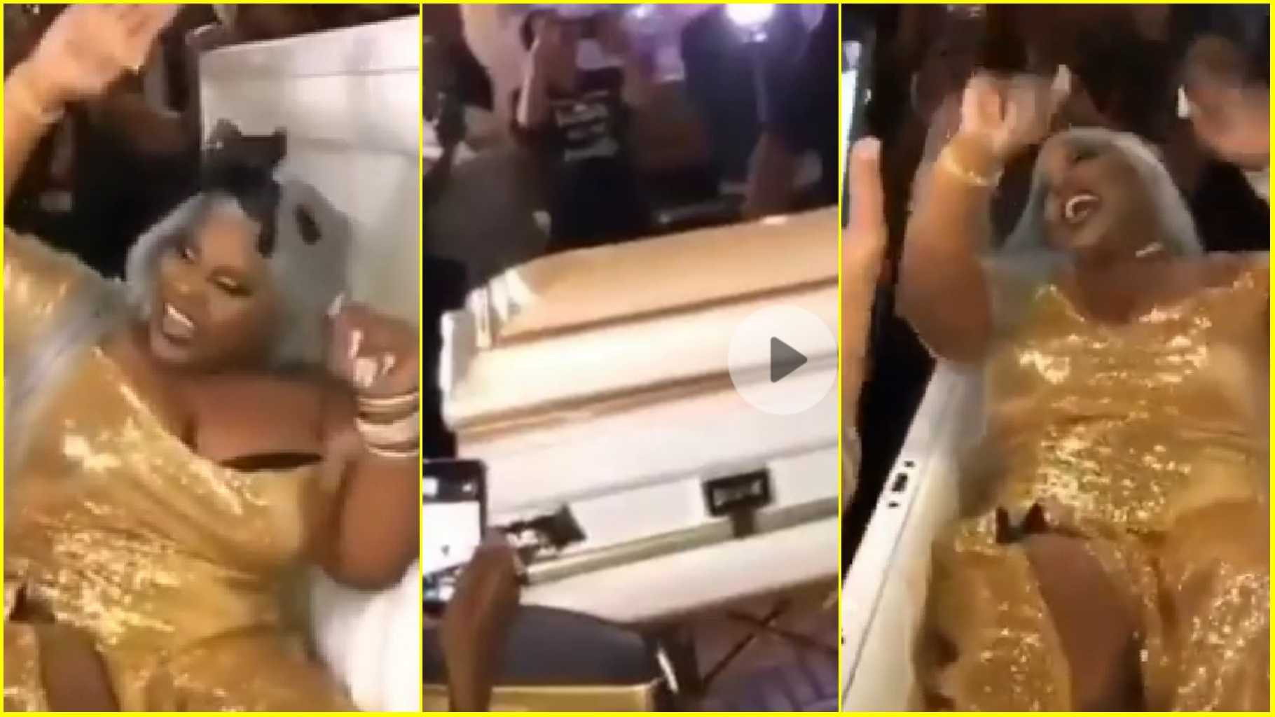 Bride Arrives Her Wedding Reception In A Coffin (Video)