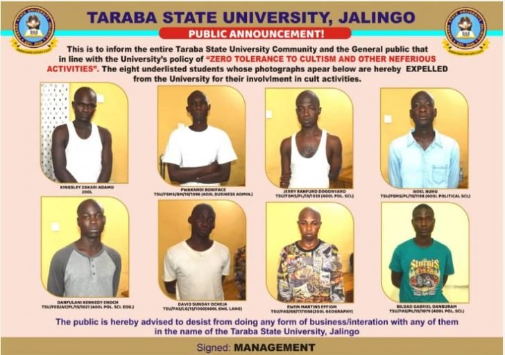 8 Students Expelled From Taraba State University Over Cultism (Pictures & Names)