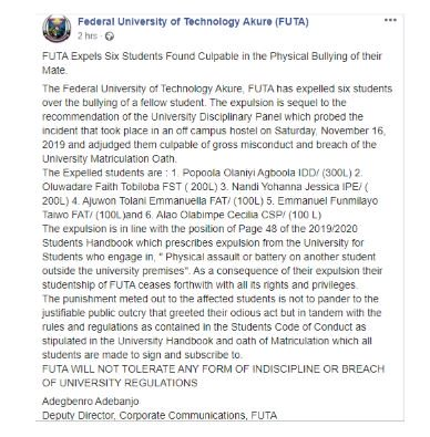 FUTA Students Who Beat Up 100-Level Colleague Have Been EXPELLED
