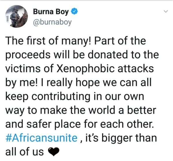 Burna Boy Promises To Donate Concert Money To Victims Of Xenophobic Attacks