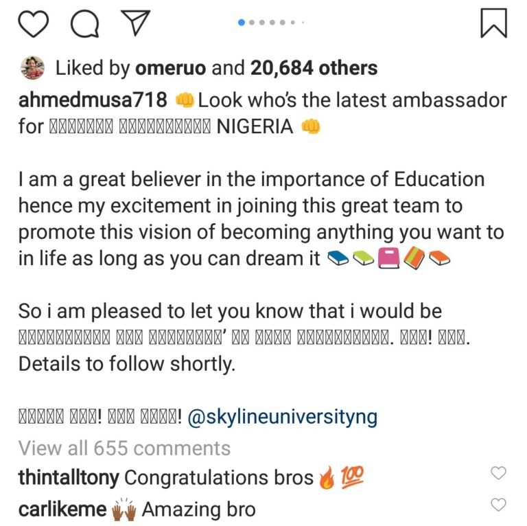 Ahmed Musa To sponsor 100 Students In Skyline University