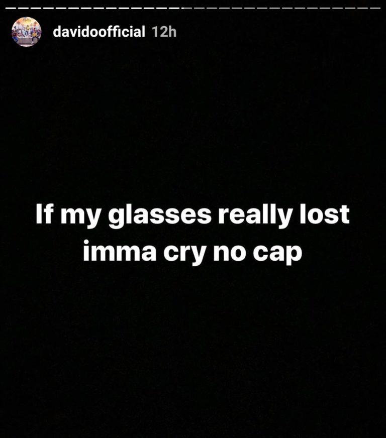 Davido's Diamond Encrusted Eyeglass Which Worth N4.5million Has Gone Missing