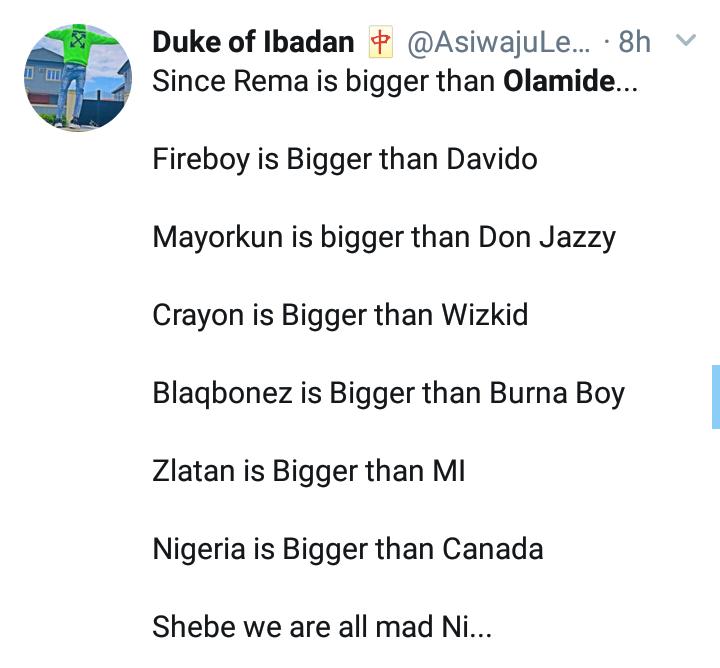 """Rema Is Bigger Than Olamide"" — Nigerian Man Says 8"