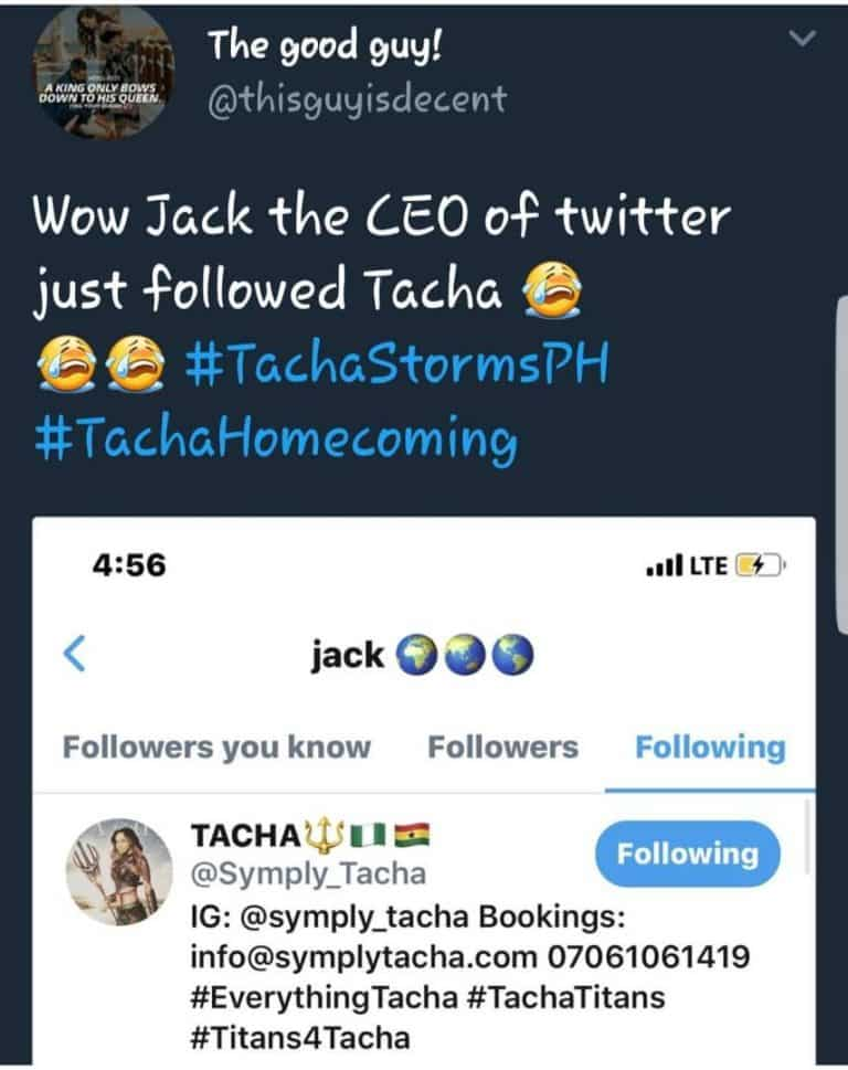 Twitter CEO Jack Dorsey Follows BBNaija's Tacha On Twitter