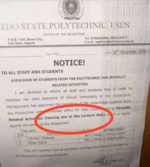 Edo State Polytechnic Expels Two Students Caught Having S£x Inside Lecture Hall