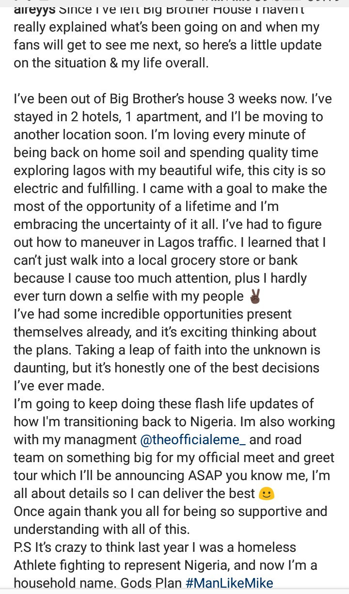 """Last Year I Was A Homeless Athlete Fighting To Represent Nigeria"""" BBNaija's Mike Reflects On His Life 3 Weeks After Leaving The House 6"""