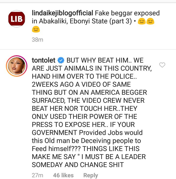 Tonto Dikeh Condemns Those Filmed Beating A Fake Beggar 6