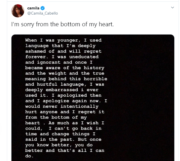 Singer, Camila Cabello apologizes for racist posts