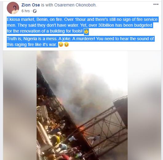Fire Demolishes Ekiosa Market In Benin (Video) 3