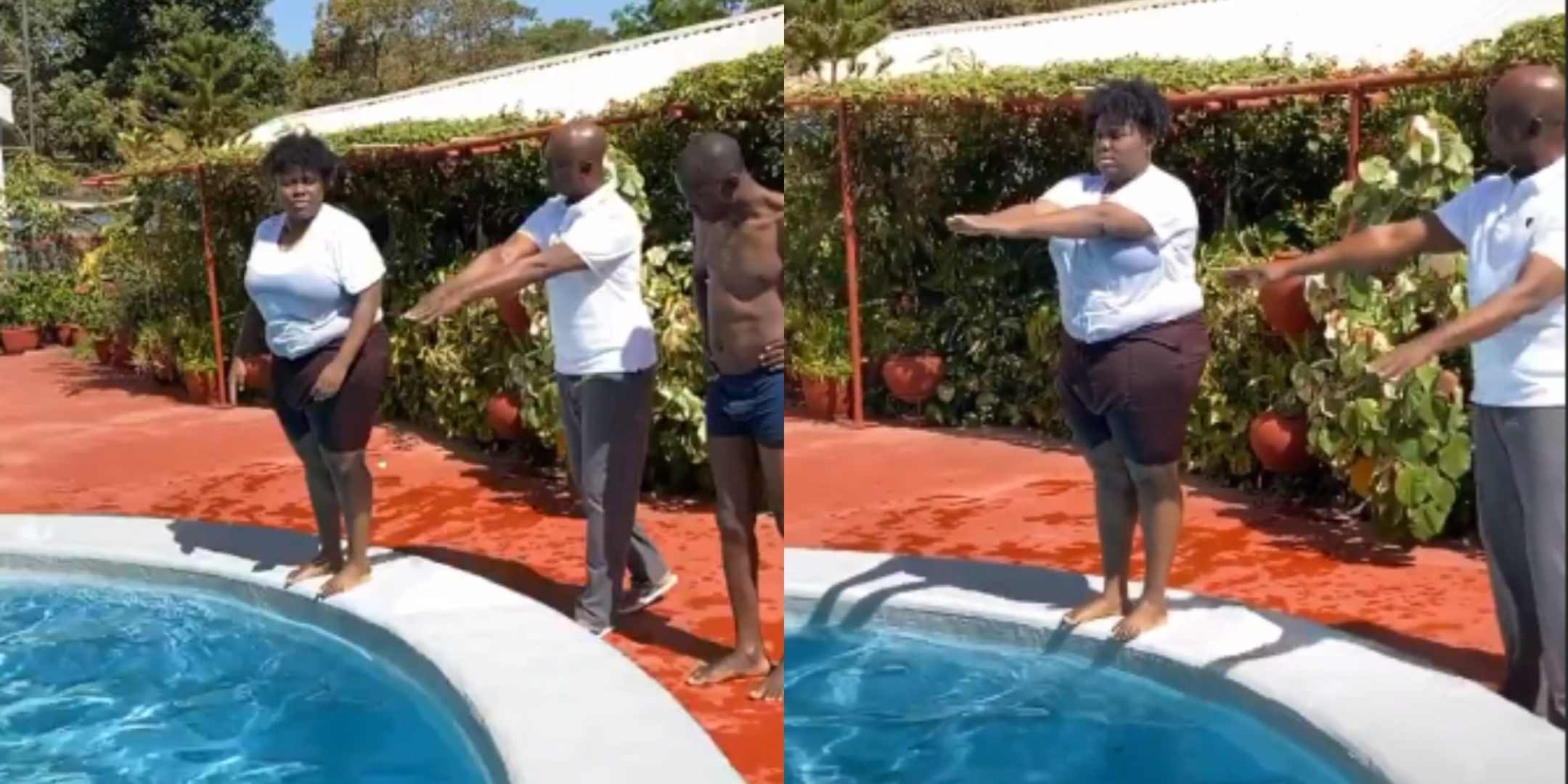 Ned Nwoko Teaches Teni How To Swim (Video)