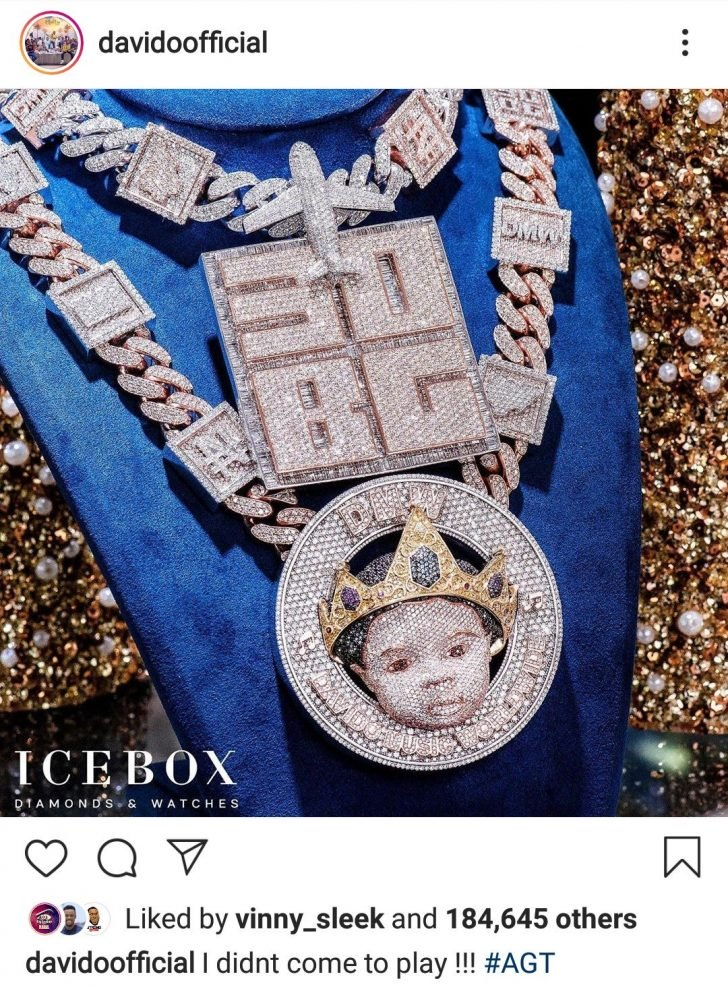 """""""I Didn't Come To Play"""" — Davido Says As He Shows Off His N150Million Diamond Encrusted Necklace"""