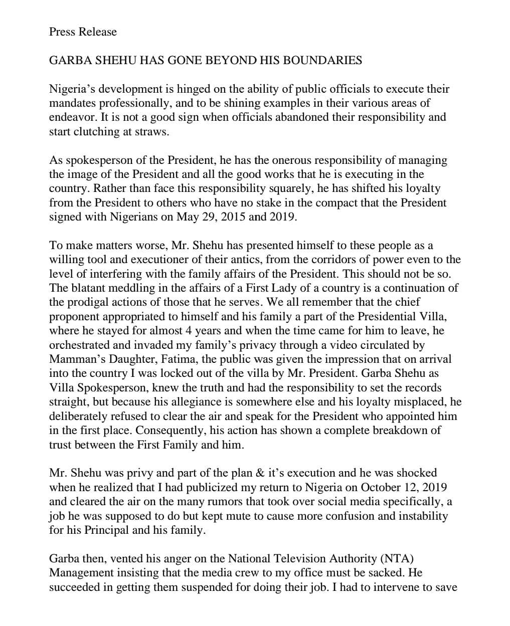 Aisha Buhari Attacks Garba Shehu, Says 'He Has Gone Beyond His Boundaries'