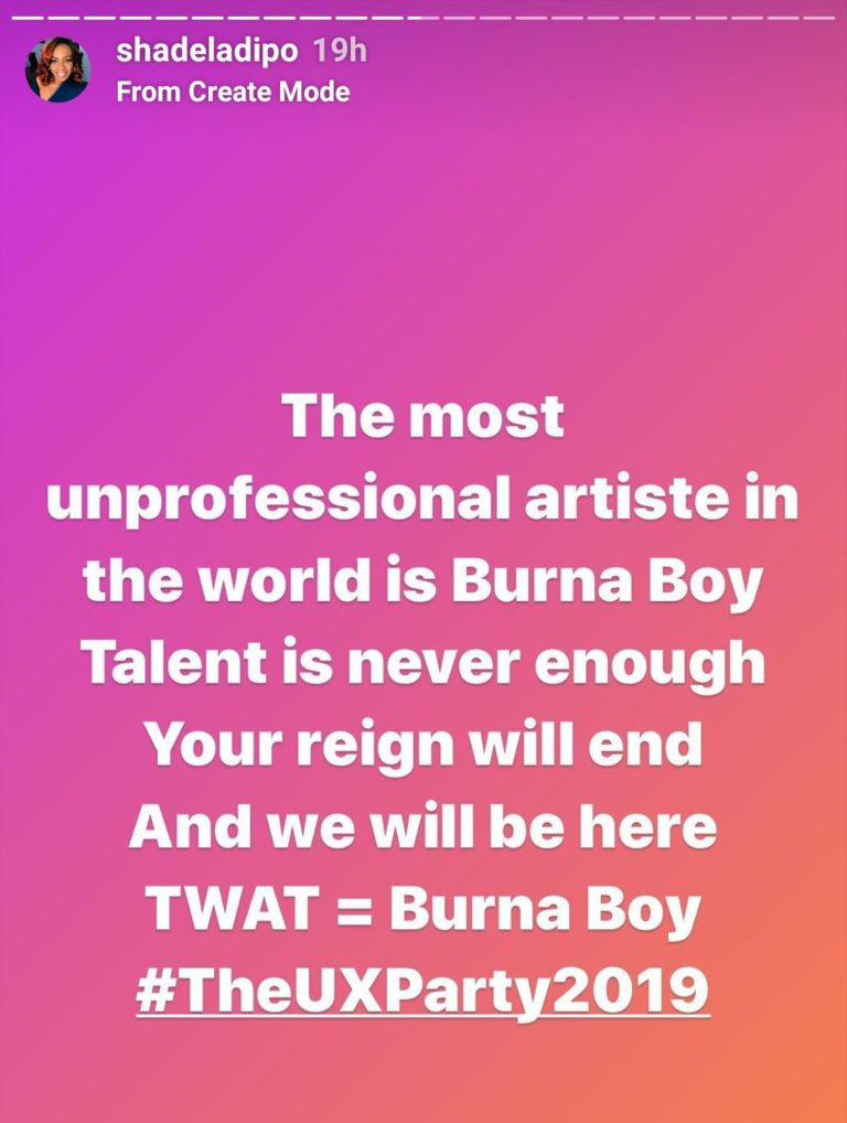 """""""Burna Boy Is The World's Most Unprofessional Artiste"""" — Shade Ladipo"""