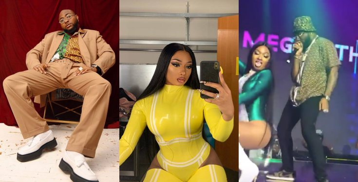 Davido Refuses To Rock Meghan Thee Stallion's Backside On Stage, Nigerians React (Video)