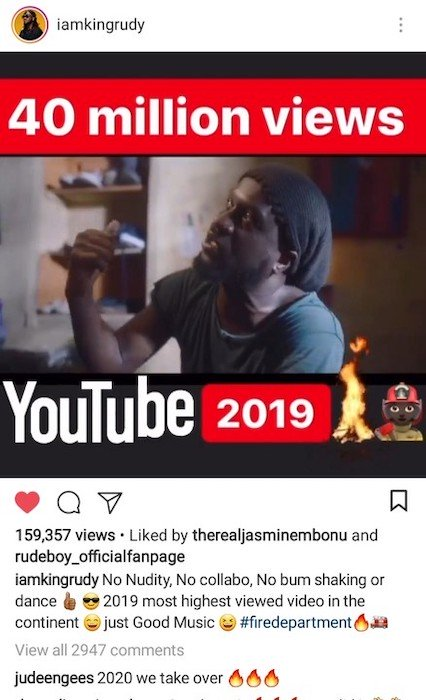 """Rudeboy's """"Reason With Me"""" Is The Most Viewed African 2019 Video On Youtube 3"""