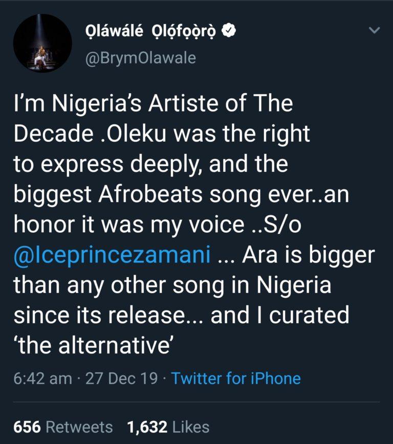 """I Am Nigeria's Artist Of The Decade"" – Brymo 3"