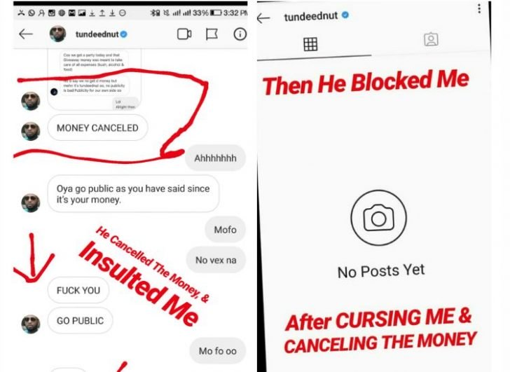 Tunde Ednut's Giveaway Is A Scam — Man Narrates How Tunde Blocked Him After He Won (See Proof) 3
