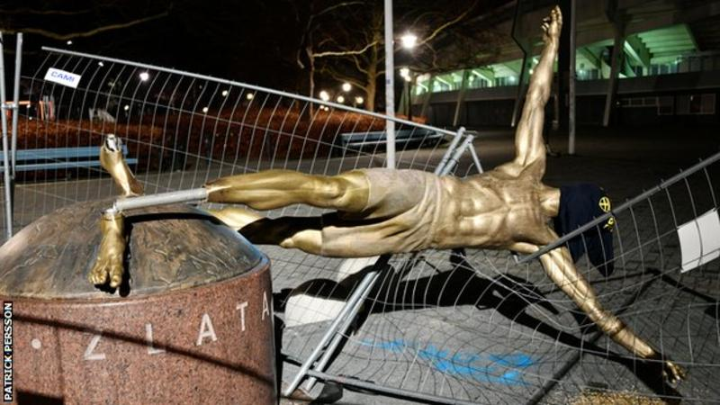 Zlatan Ibrahimovic's Statue Destroyed In Sweden (Photo)