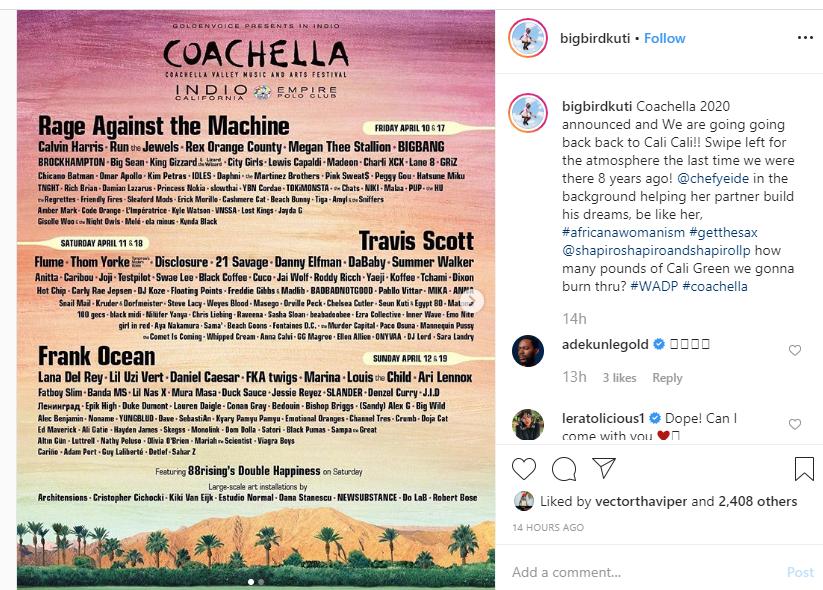 Artistes For Coachella 2020 Announced, Seun Kuti Only Nigerian On The List