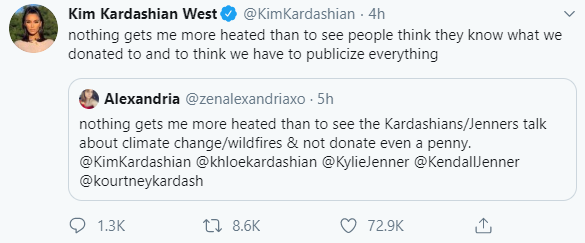 Kim Kardashian Reacts After Twitter User Called Her Family Out For Not Donating To Fight The Australia Wildfires