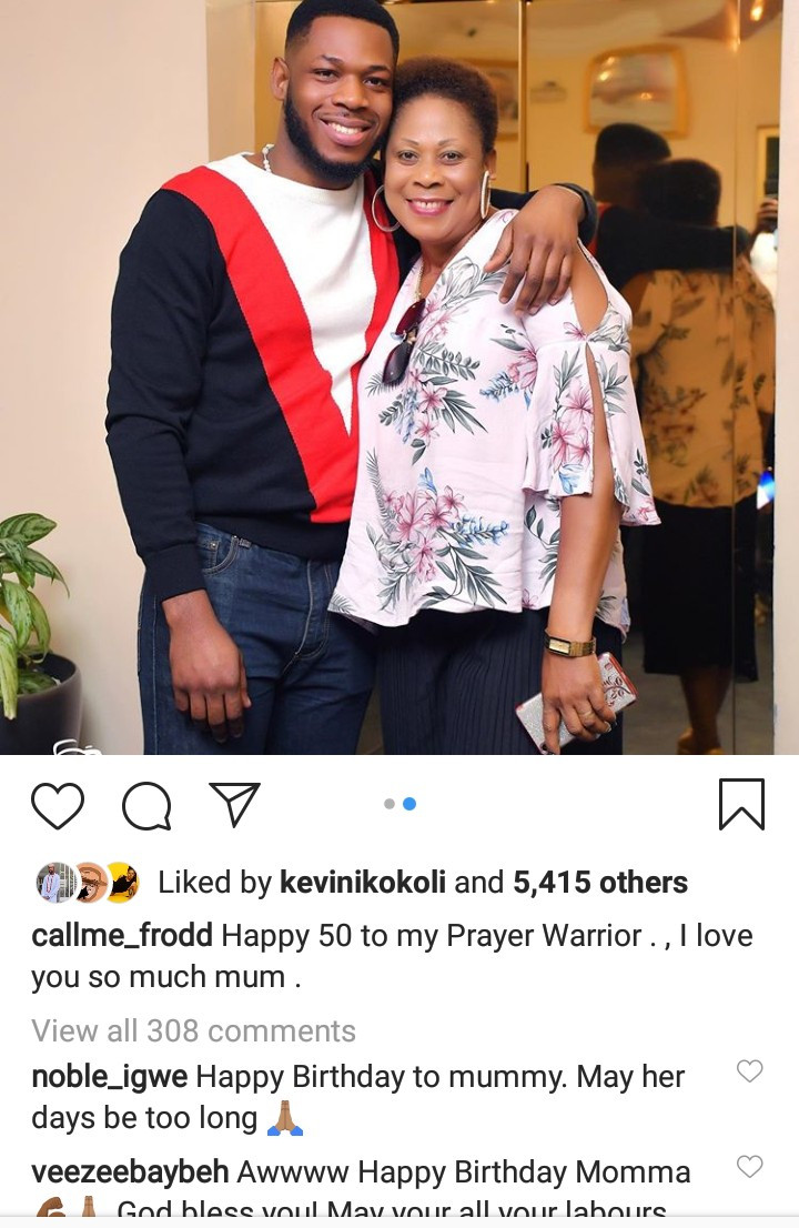 Frodd Shows Off His Mom To Mark Her 50th Birthday