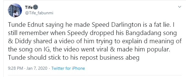 Speed Darlington Wishes Death To Tunde Ednut's Family, Threatens To Tie His Future For Claiming He Made Him Popular, Nigerians React (Video) 7