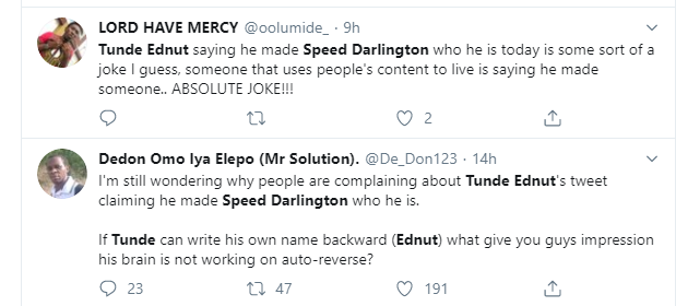 Speed Darlington Wishes Death To Tunde Ednut's Family, Threatens To Tie His Future For Claiming He Made Him Popular, Nigerians React (Video) 9