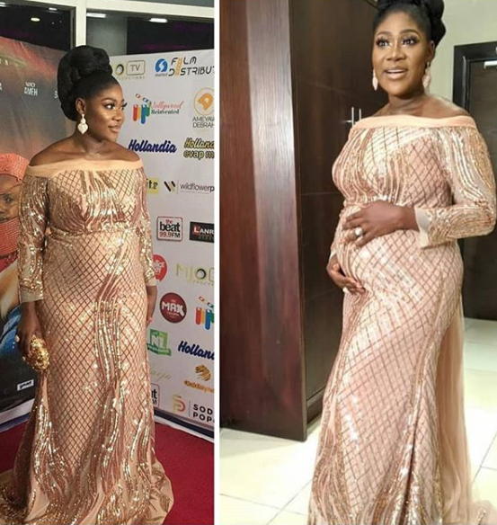 Mercy Johnson Shows Off Her Growing Baby Bump As She Steps Out For The Premiere Of Her First Directorial Movie