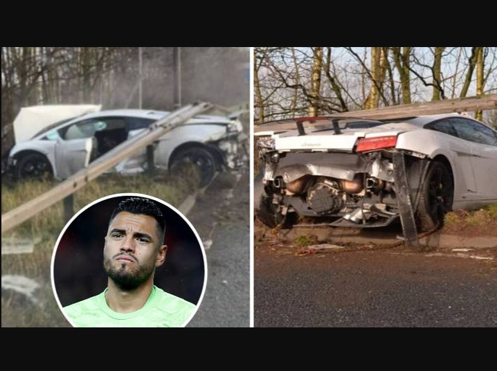 Manchester United Goalkeeper Romero Involved In Car Accident (Photos/Video)