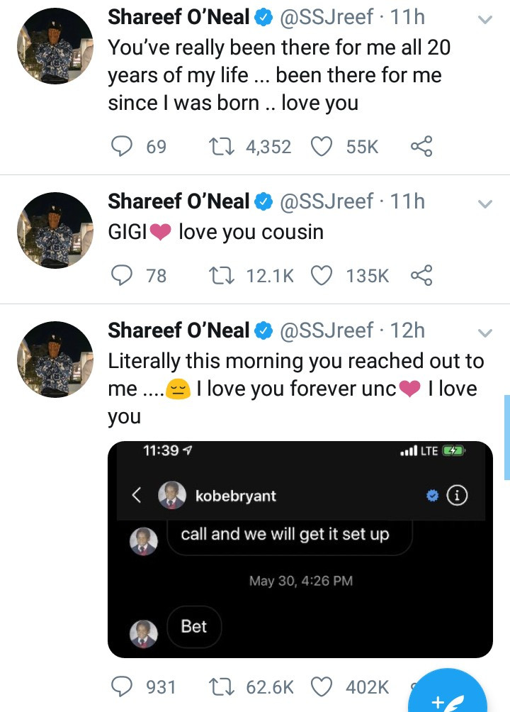 Shaquille O'Neal's Son, Shareef Shares The Last Message Kobe Bryant Sent Him Before He Died