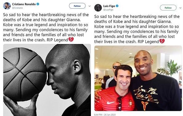 Luis Figo Slammed For Copying Cristiano Ronaldo's Tribute To Kobe Bryant Word For Word