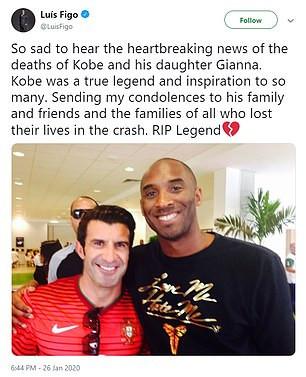 Luis Figo Slammed For Copying Cristiano Ronaldo's Tribute To Kobe Bryant Word For Word 12