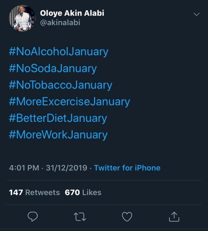 'No Alcohol, No Tobacco, No Soda' – Akin Alabi List 2020 Resolutions
