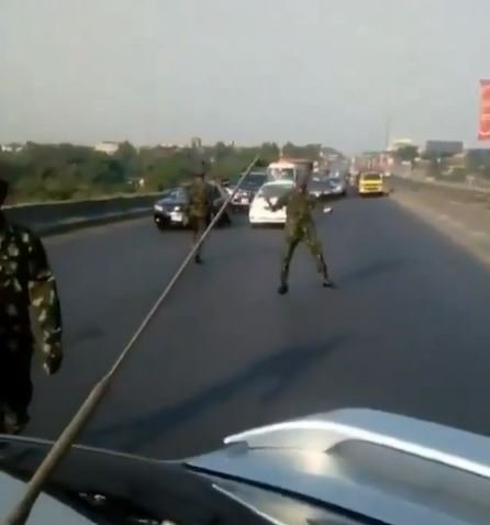 """""""Civilians Can't Do Anything"""" – Nigerian Cadets Says As They Stop All Moving Cars On The Highway (Video)"""