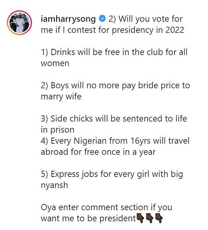 'If I Become President, I'll Send Side Chicks To Prison' — Harrysong