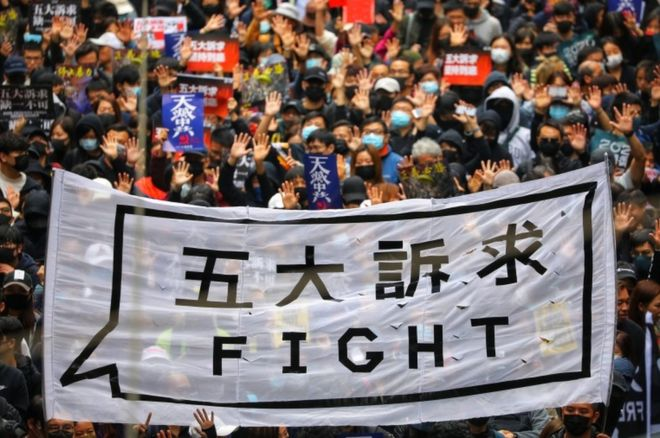 2020: Hong Kong Starts New Year With Fresh Protest