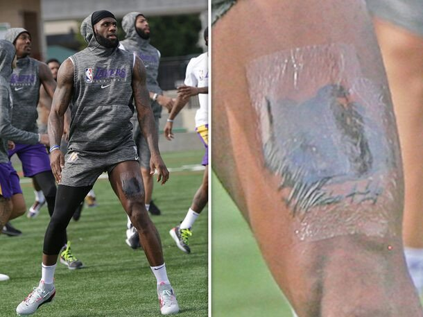 LeBron James Tattoos 'Kobe 4 Life' On His Lap (Photo)