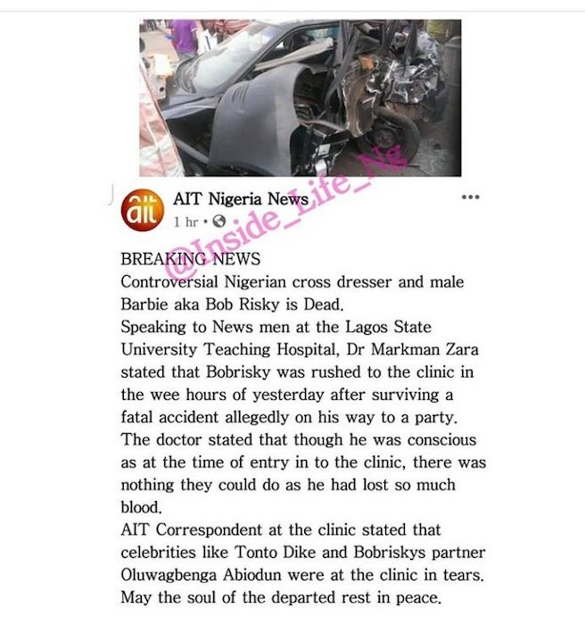 Bobrisky Reacts To News Of His Death 8