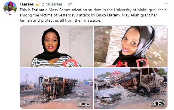 See Pretty UNIMAID Student Among People Burnt To Death By Boko Haram