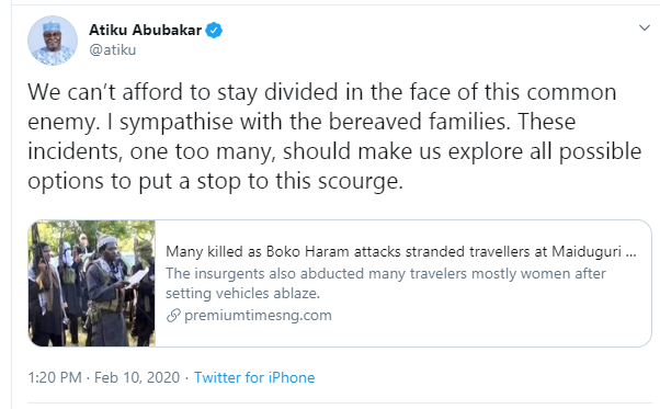 Atiku Reacts After Boko Haram Killed About 30 Persons In Borno