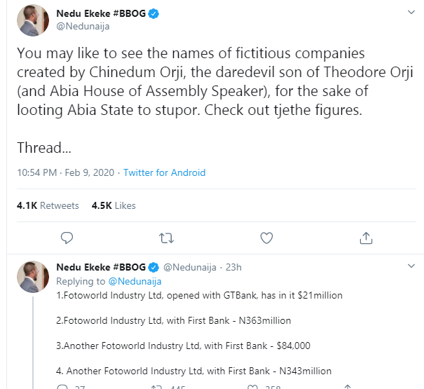 Former Governor T.A Orji And Son Quizzed By EFCC Over Alleged Theft Of Billions Of Naira...See Accounts Traced To Son And All The Money Inside 14