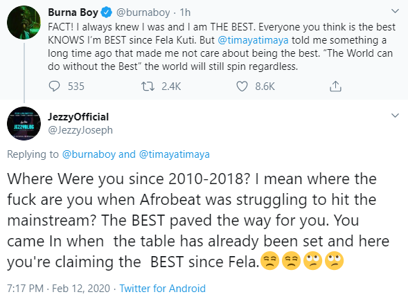 'I'm The Best Since Fela Kuti' — Burna Boy; Nigerians React 5