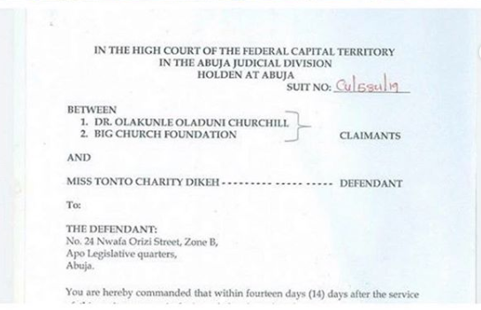 Churchill Sues Ex-Wife Tonto Dikeh For N500M 16