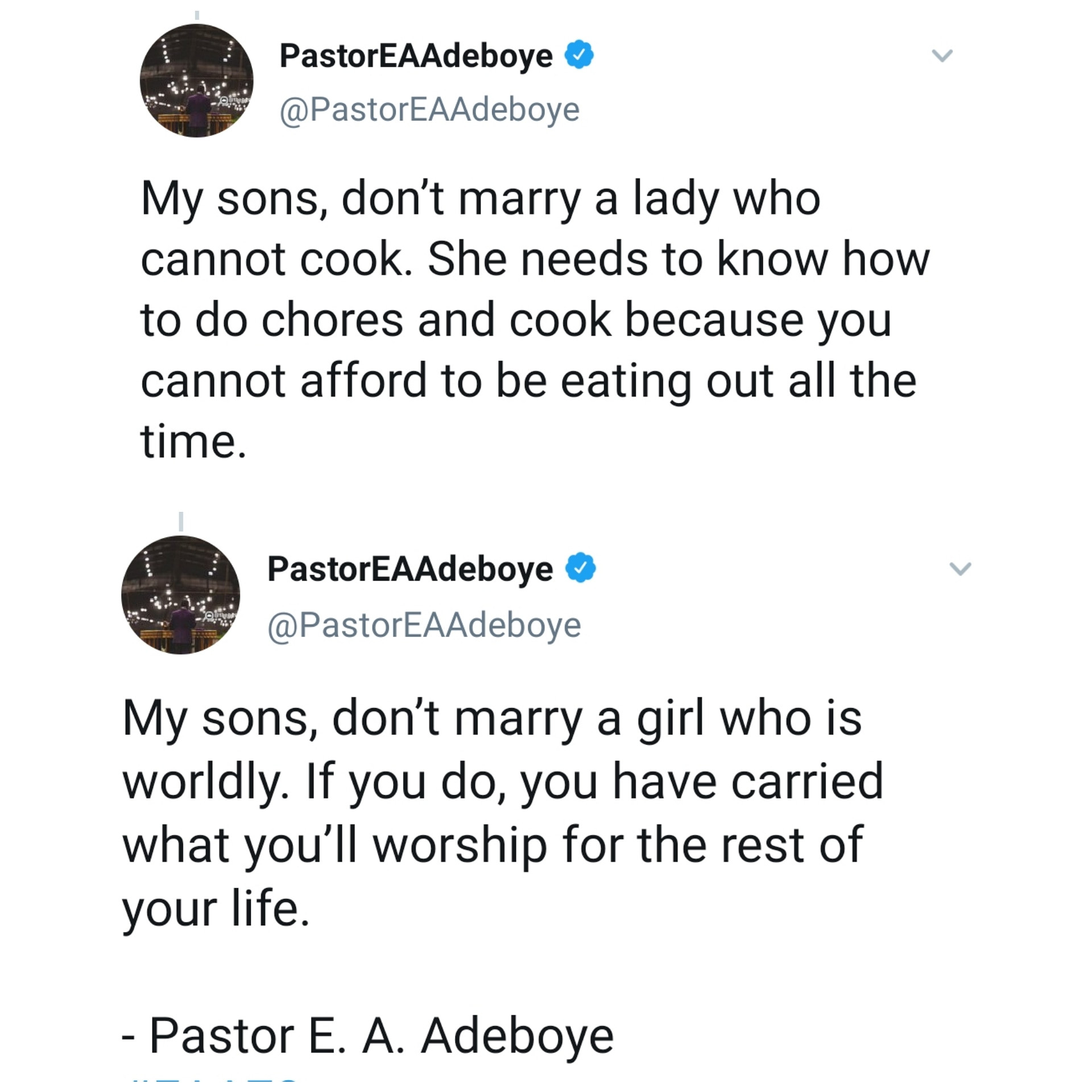 'Don't Marry A Lady That Cannot Cook' — Pastor Adeboye Advises Single Men