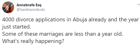 4000 Couples Applied For Divorce In Abuja In 2020 — Report... Nigerians React