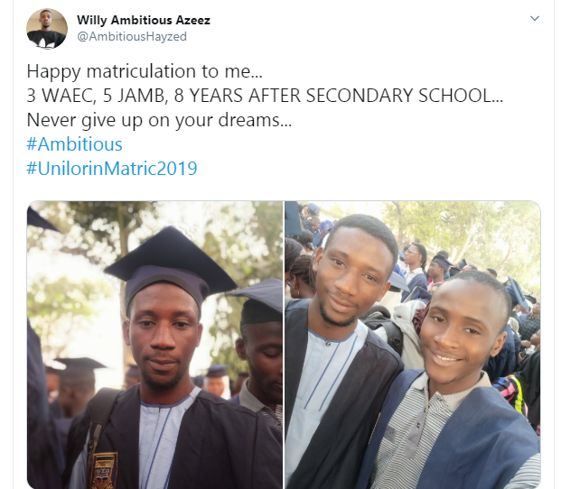 Nigerian Man Celebrates Gaining Admission Into The University 8 years After Leaving Secondary School