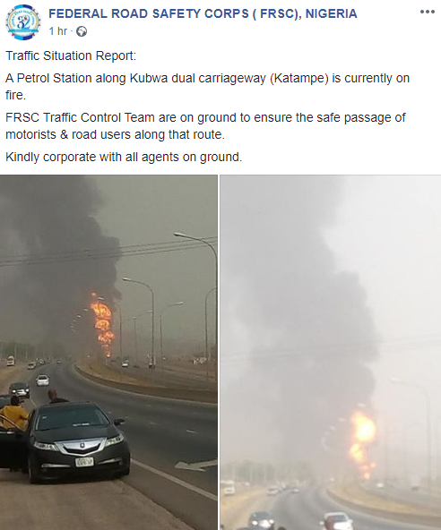 Abuja Petrol Station Gutted By Fire (Photos/Video)